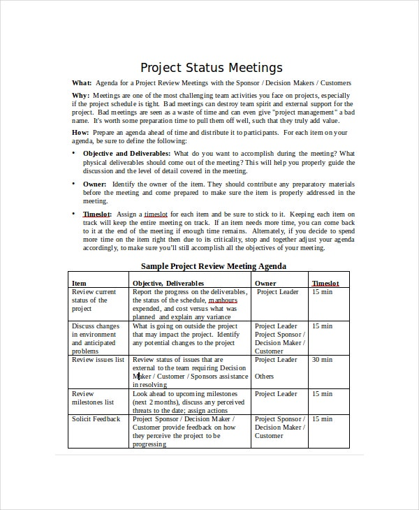 project status meeting agenda template
