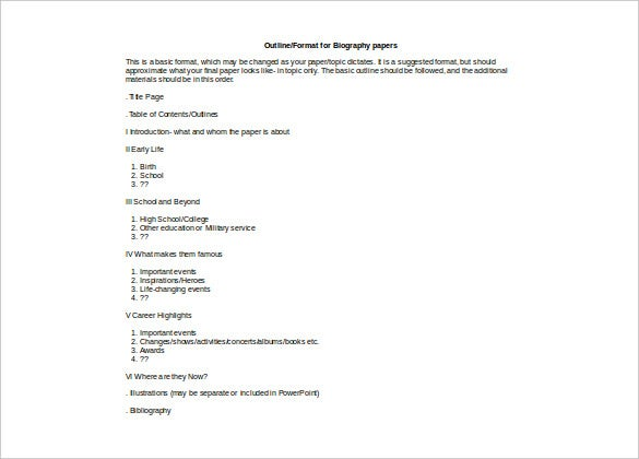 outline autobiography doc format free download template
