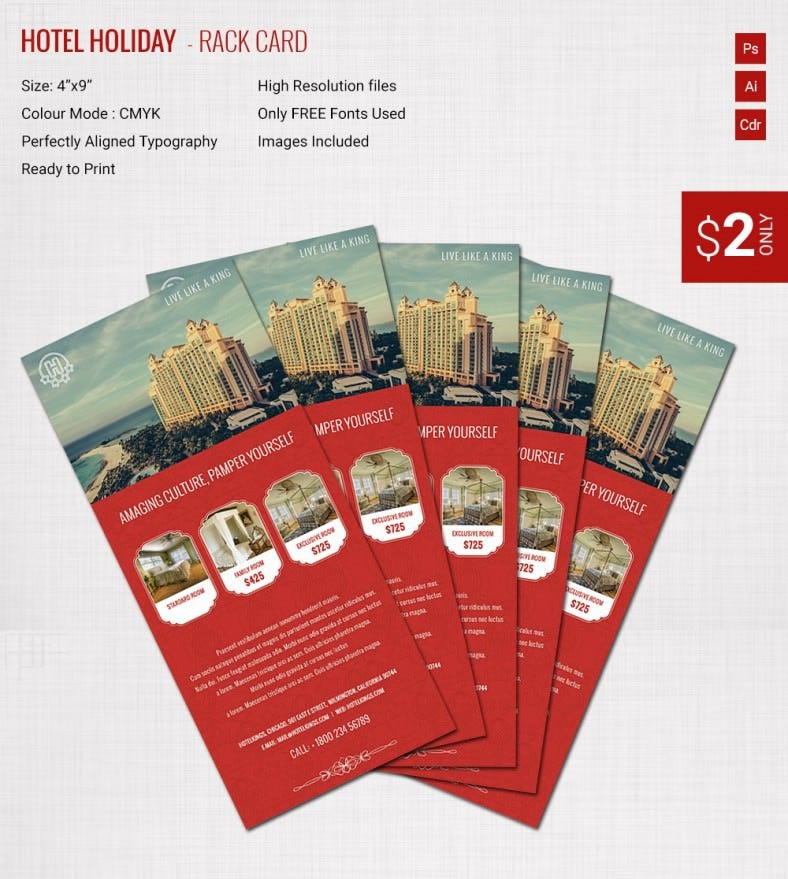 Incredible Hotel  Holiday Rack Card Template  Free  Premium