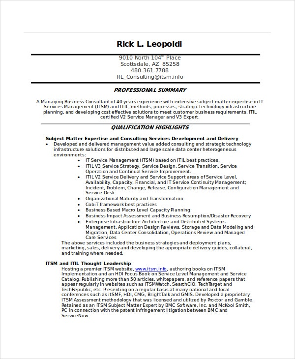 It-Service-Management-Resume