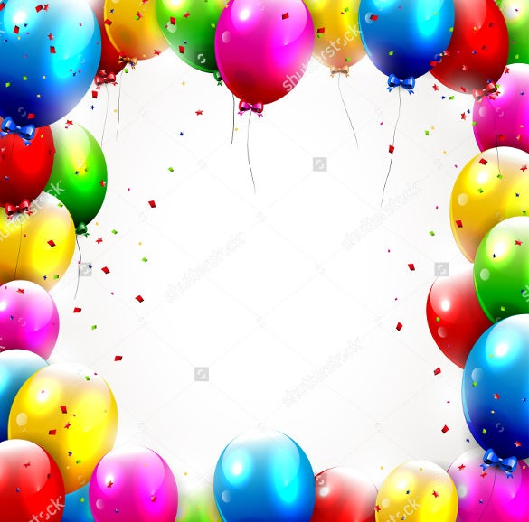 birthday background template with colorful balloons