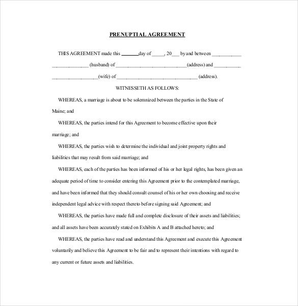 Prenuptial Agreement Template   Free Word Pdf Document Download