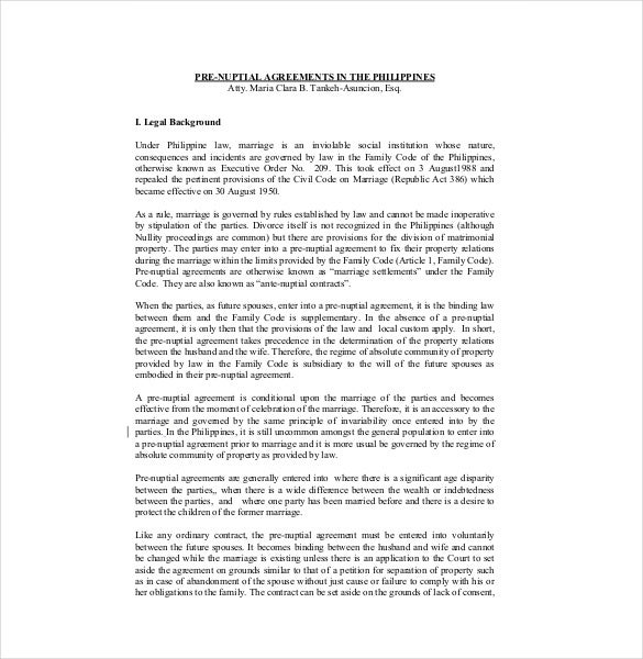 Prenuptial Agreement Template   Free Word Pdf Document