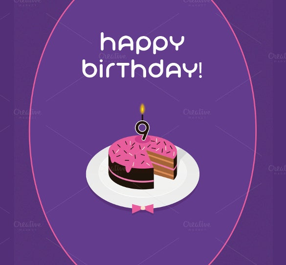 9th birthday postcard template