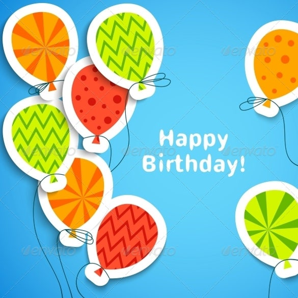birthday postcard template with balloons