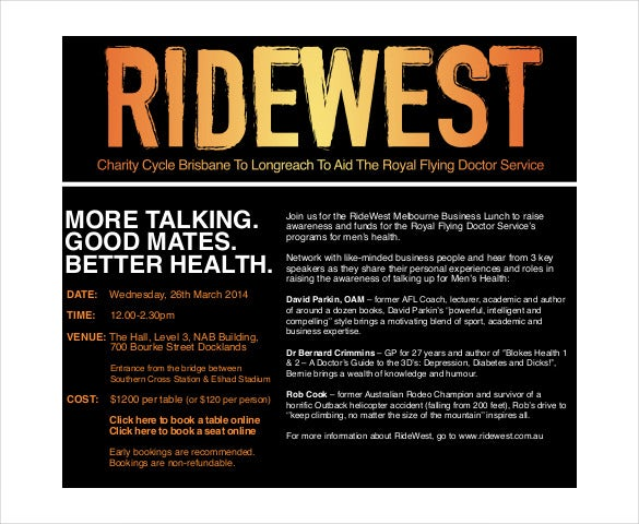 ridewest melbourne business lunch invitation