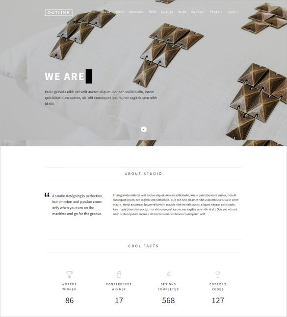 outline creative wordpress theme