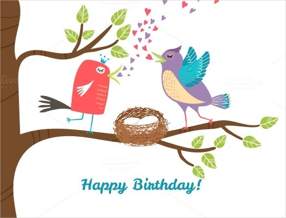 birds birthday postcard template