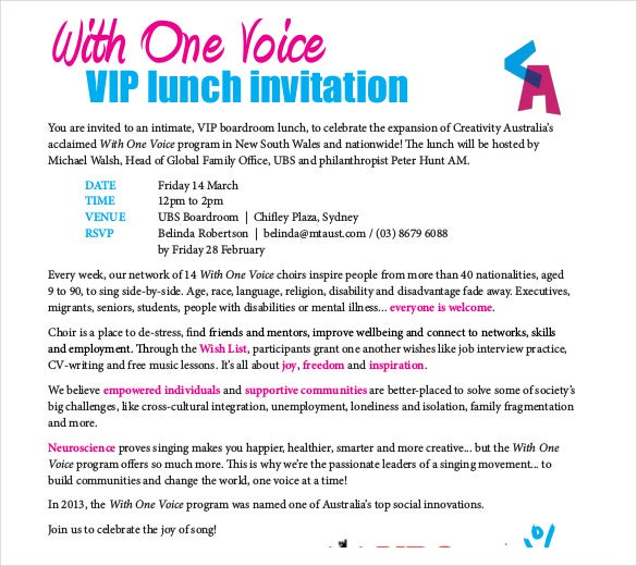 vip lunch invitation