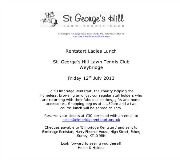 luncheon invite template