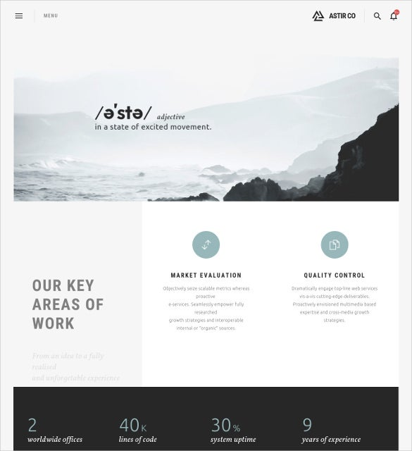 astir creative wordpress theme for artists