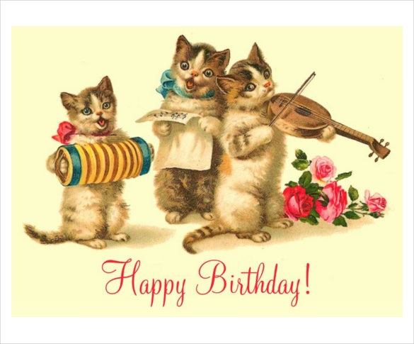 funny birthday postcard template with cats