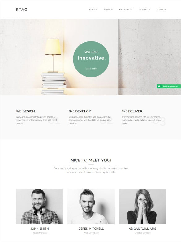 stag portfolio wordpress theme for freelancers and agencies