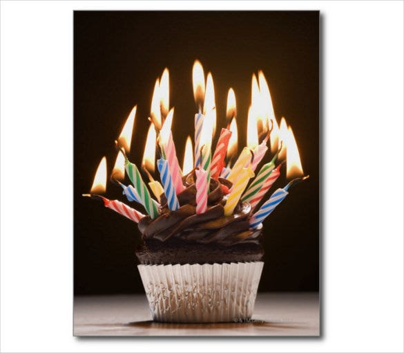 birthday post card with candles