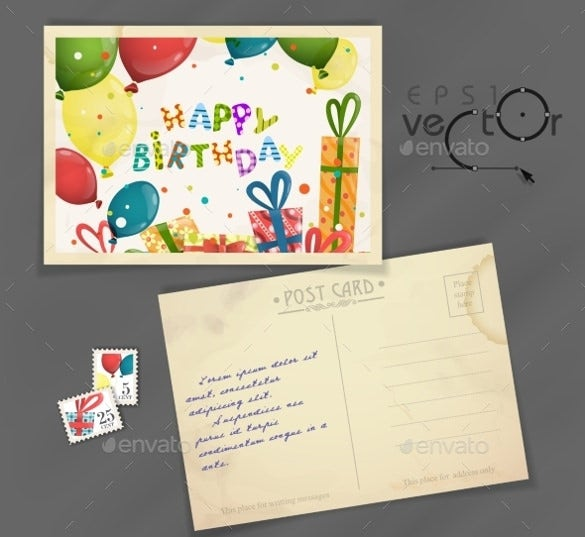 old birthday postcard template design