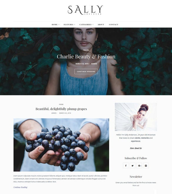 sally minimal readable blog wordpress theme