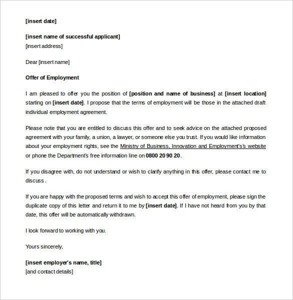 relevant collective agreement appointment letter example