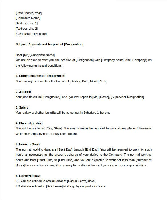 appointment letter templates   free sample  example format    hr manager appointment letter format template for free
