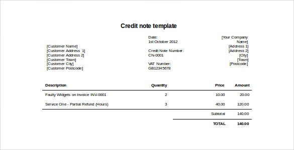 Credit Note Sample