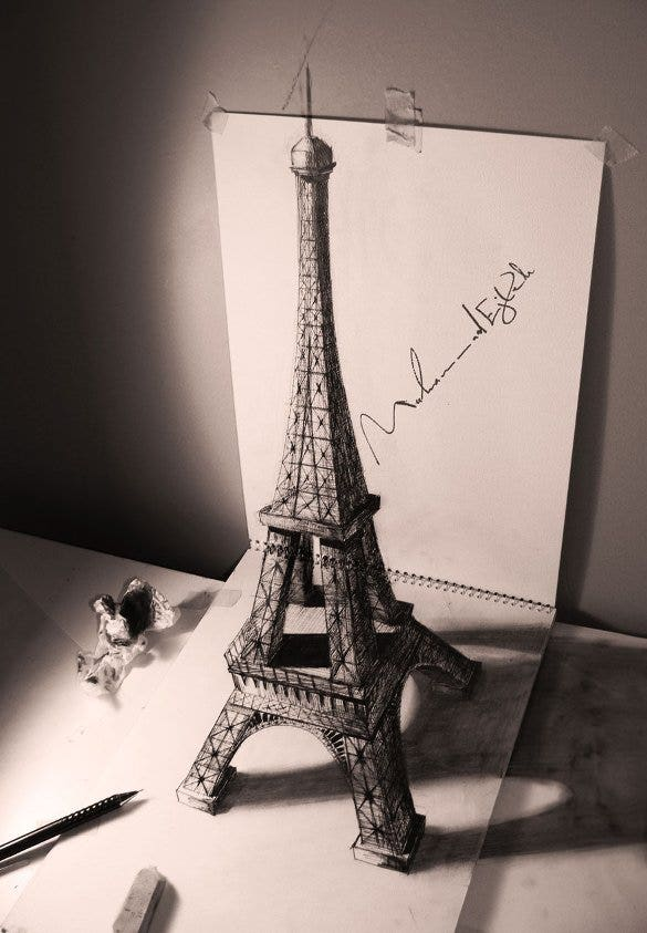 eiffel tower 3d drawing template1