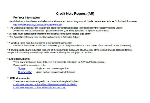 Great Credit Note Instructions Template Free Download Excel Format  Credit Note Request Form