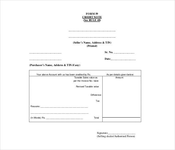 Form 59 Credit Note Template Free PDF Format Download In Credit Note Request Form