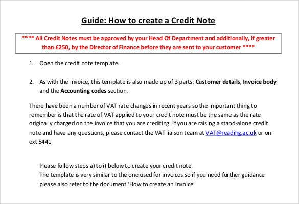 Credit Note Template Free Word PDF Documents Download - Credit invoice template