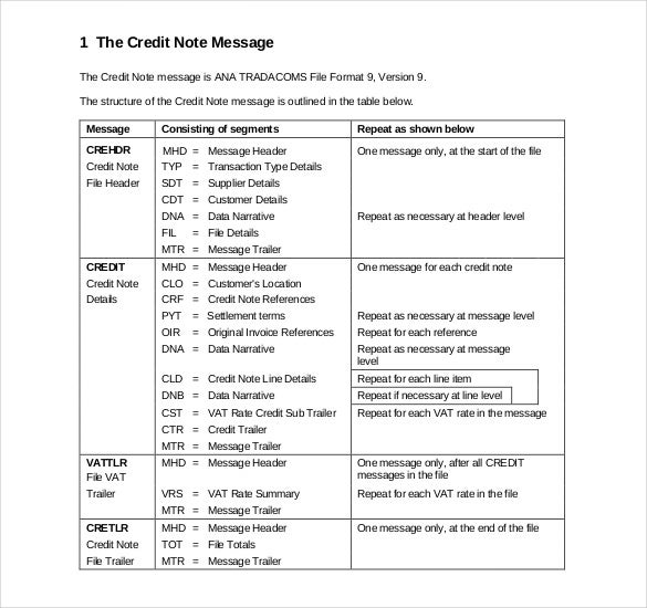 19 credit note templates word excel pdf free premium templates