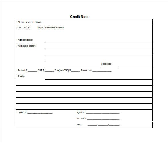Credit Note Template 8 Free Word PDF Documents Download – Credit Memo Sample