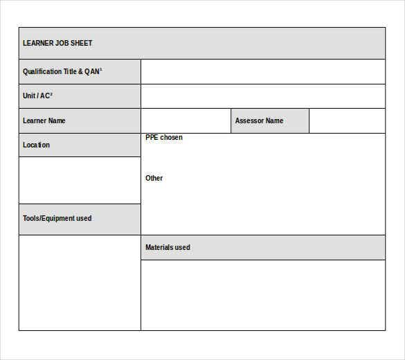 Great Free Download Learner Job Sheet Template Doc Format Idea Excel Job Sheet Template