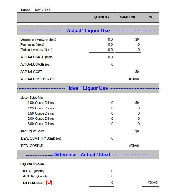 liquor control inventory worksheet