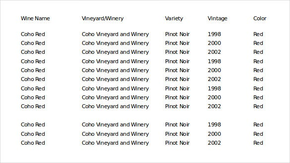 an excel format wine collection inventory template1