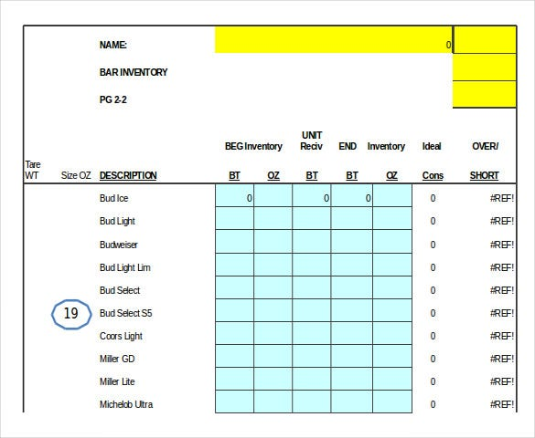 13+ Bar Inventory Template – Word, Excel, Numbers, Apple
