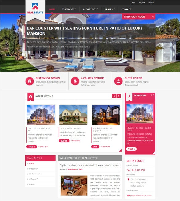 Real Estate Joomla Themes Templates Free Premium Templates - Free real estate ad templates
