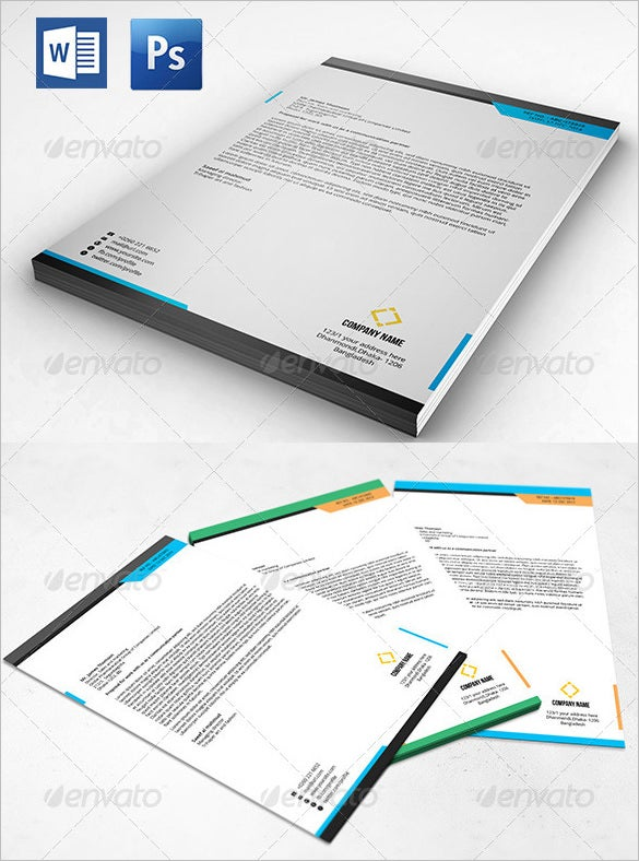 clean letterhead with ms word doc psd design