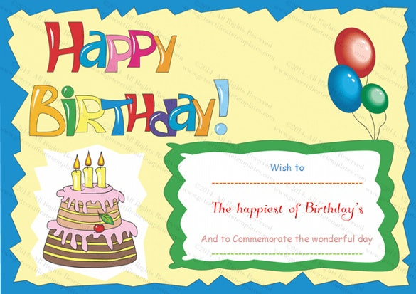 birthday gift certificate template 25 birthday certificate template free sample example