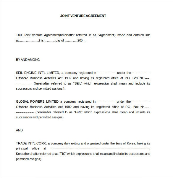 Joint Venture Agreement Template 13 Free Word PDF Document – Joint Venture Agreements Sample