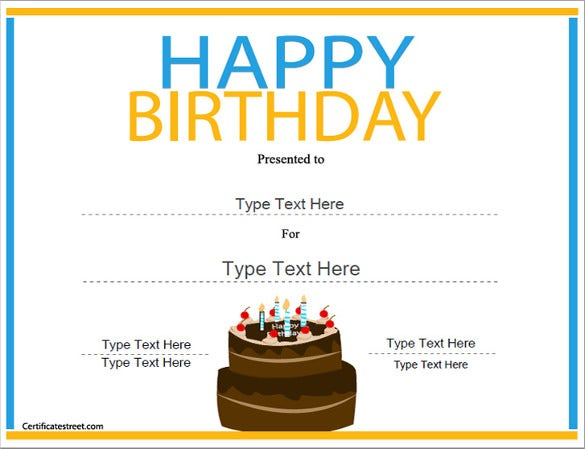 23 birthday certificate templates psd eps in design for Birthday gift certificate template