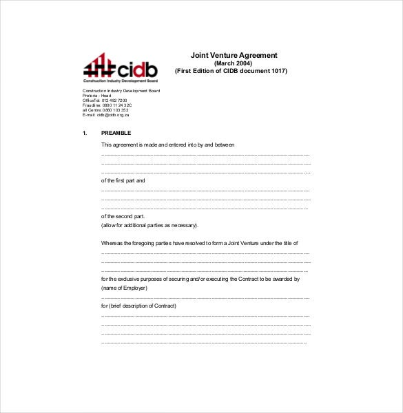 Joint Venture Agreement Template   Free Word Pdf Document