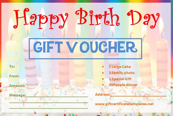 birthday gift certifaicate template with candles