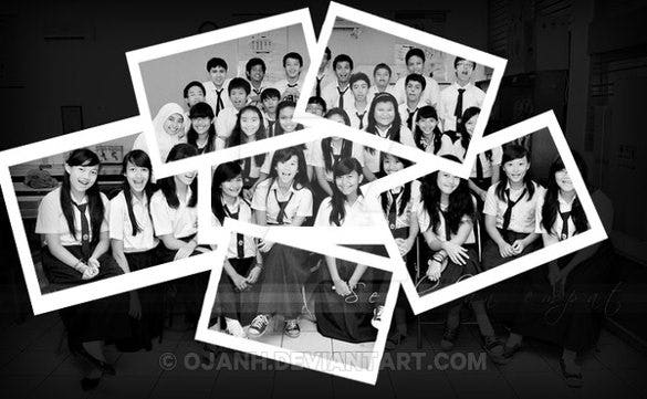 beautiful memorible group photo from polaroid camera