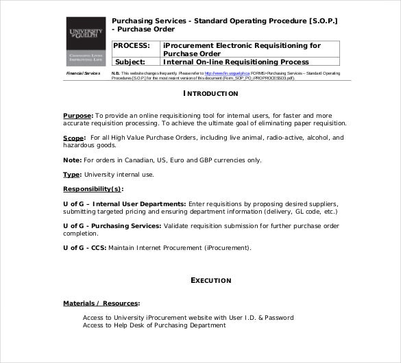 13 standard operating procedure templates pdf doc for Purchasing policies and procedures template