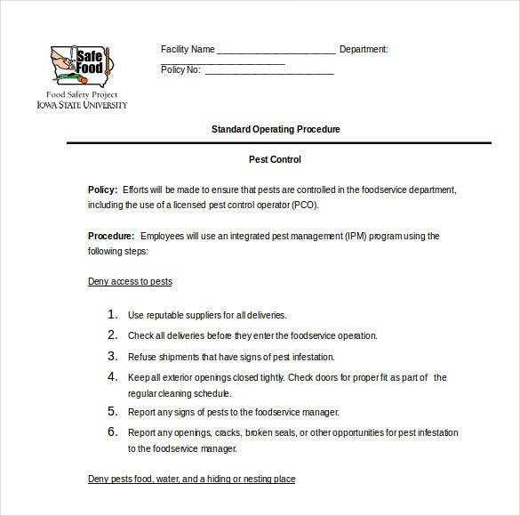 Sop template standard operating procedure template free pest control procedure sop word format pronofoot35fo Gallery