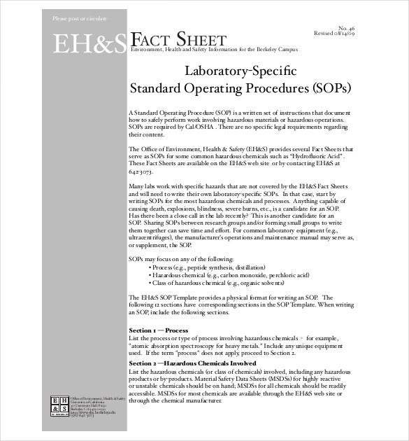 13 standard operating procedure templates pdf doc free lab procedure sop maxwellsz