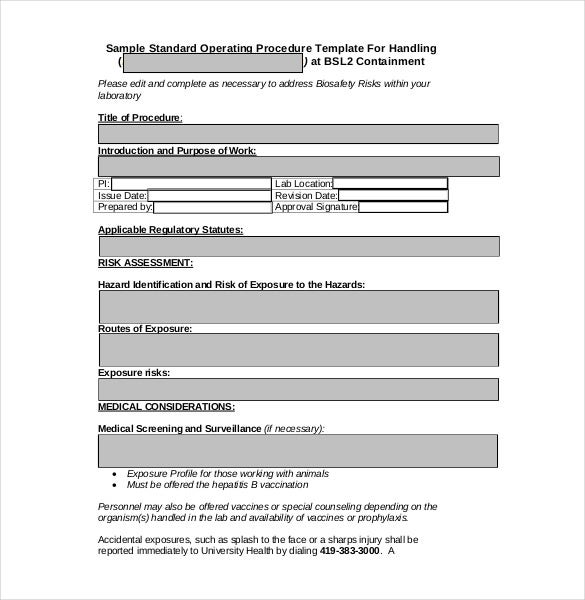 13 standard operating procedure templates pdf doc free standard operating procedure form cheaphphosting