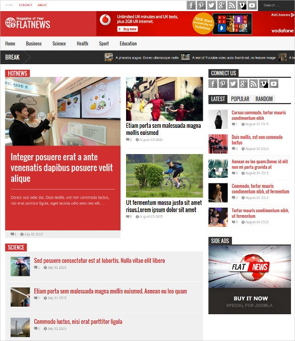 flatnews magazine joomla template
