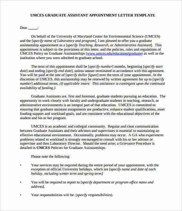 printable sample graduate assistant appointment letter pdf1
