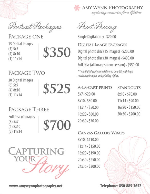 price list template pricing sheet psd format