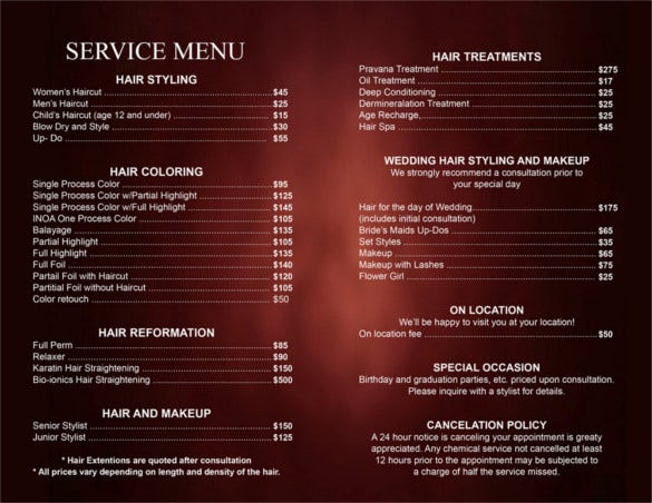hair salon service price list template printable