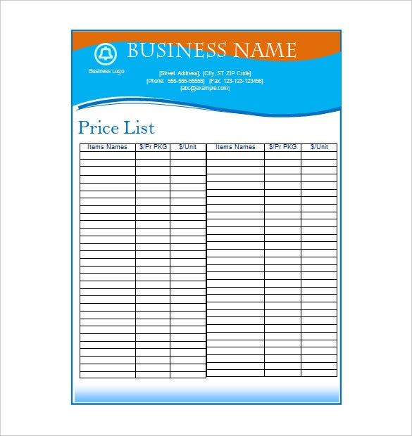 business price list
